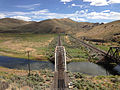 2014-06-21 15 49 00 View across a railway bridge over the Humboldt River in Palisade, Nevada.JPG