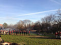 2014-12-27 15 07 41 Reenactors exchanging musket fire in Mill Hill Park during a reenactment of the Second Battle of Trenton in Trenton, New Jersey.JPG