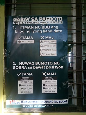 2016 Philippine general election - Instructions on how to vote posted outside polling precincts during the election.