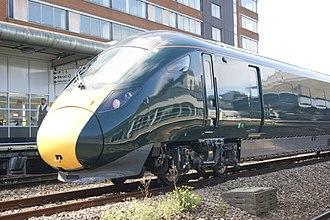 British Rail Class 802 - Hitachi made GWR Class 802, 802001 on a testing run passing through Swindon