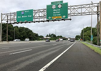 Wayne, New Jersey - I-80 westbound at the exit for US 46 and Route 23 in Wayne