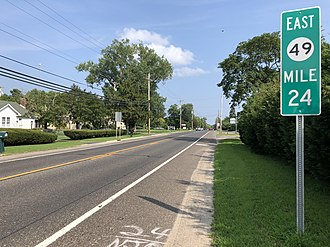 Hopewell Township, Cumberland County, New Jersey - Route 49 eastbound in Hopewell Township