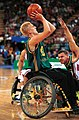 221000 - Wheelchair basketball Shaun Groenewegen shoots - 3b - 2000 Sydney match photo.jpg