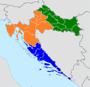 Croatian Third Football League - Geographic areas covered by the three 3.HNL divisions; Orange - 3.HNL West, Blue – 3.HNL South, Green – 3.HNL East