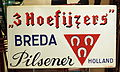 3 Hoefijzers Pilsenenr Breda, enamel beer advertising sign.JPG