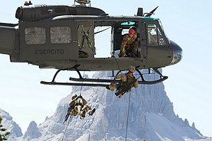 4th Alpini Rgt Rappeling from an AB205