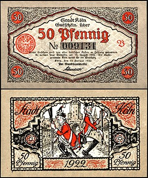 """Notgeld (emergency money), Cologne, Germany, 1922, signed by Lord Mayor and later German Chancellor K. Adenauer, RV: two city soldiers performing the traditional dance """"Stippeföttche"""""""