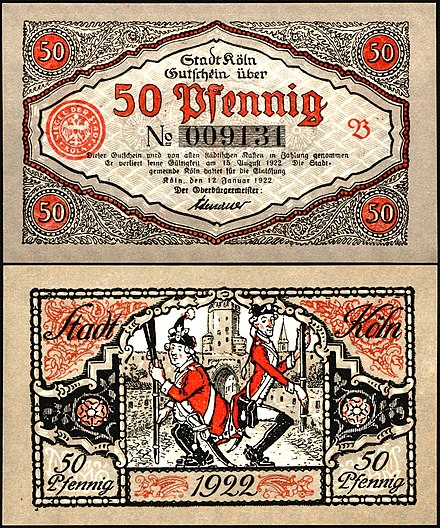 "Notgeld banknote, issued by the city of Cologne, 1922, depicting two members of the carnival guard Rote Funken in the uniforms of city soldiers from Cologne who are performing the traditional dance ""Stippeföttche"". Signed by Lord Mayor Konrad Adenauer, later the first chancellor of the Federal Republic of Germany."