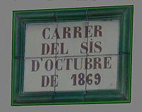 Placa de la calle 6 de octubre dela Bisbal