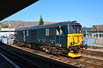 73966, Class 73 Electro-diesel in Caledonian Sleeper livery at Fort William Station.JPG