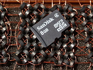 Random-access memory - A portion of a core memory with a modern flash SD card on top