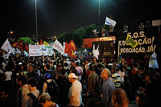 2014 protests in Brazil - Protesters against the World Cup march in the center of Rio de Janeiro.