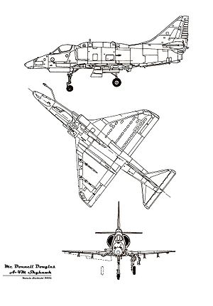 Orthographically projected diagram of the A-4 Skyhawk.