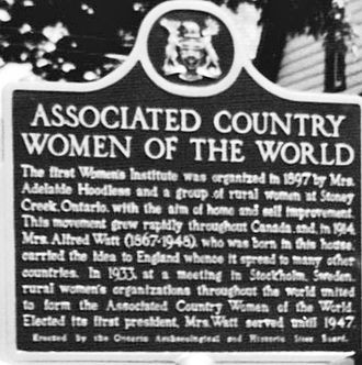 Margaret Robertson Watt - Long-lost Associated Country Women of the World plaque formerly installed outside the Collingwood house thought to be Madge's 1868 birthplace.
