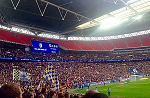 AFC Wimbledon - More than 20,000 AFC Wimbledon fans were present at the 2016 Football League Two play-off Final at Wembley Stadium to see the club promoted to League One after a 2–0 win over Plymouth Argyle.
