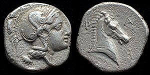 Ancient Thessaly - Image: AR hemidrachm of Pharsalos
