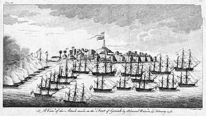 Pierre-Charles Canot - A View of the Attack made on the Fort of Geriah by Admiral Watson, 13 February 1756 by Pierre-Charles Canot, British Museum, between 1756-1777