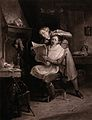 A barber curling a customer's hair with hot tongs, but he is Wellcome V0040692.jpg