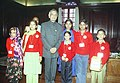 """A group of children and officers of the National Foundation for Communal Harmony called on the Union Home Minister Shri Shivraj Patil on the occasion of """"Flag Day"""" in New Delhi on November 25, 2004.jpg"""