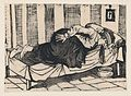 A man leaning over the side of a bed vomiting, from a broadside entitled 'Death of Aurelio Caballero due to yellow fever in Veracruz' MET DP869598.jpg
