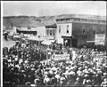 "A street scene of people boosting for tickets to the ""Grand Ball"" during the boom days at the mines, Goldfield, Nevada, ca.1905 (CHS-5414).jpg"