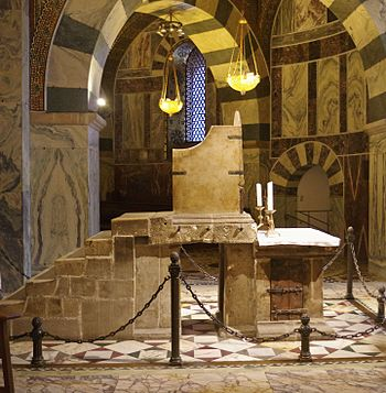 Coronation throne in Aachen Cathedral