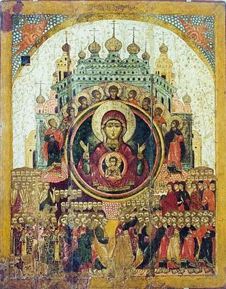 """Axion Estin - Icon of the Theotokos, """"All of Creation Rejoices in Thee."""""""