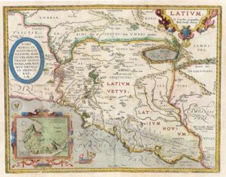 Latium - Abraham Ortel's 1595 map of ancient Latium