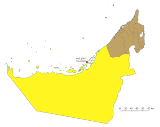 Al Karama, United Arab Emirates - Al Karama was to be built along the border between the emirates of Abu Dhabi (yellow) and Dubai (brown).  The present capital, Abu Dhabi, is in red.