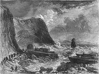 South Devon Railway sea wall - Accident to the South Devon Railway at Dawlish, 1855