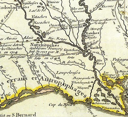 The first map to depict an Adais (Adaie) settlement, shown to the west of a cluster of Natchitoches villages. Drawn in 1718 by Guillaume Delisle Adaie.jpg
