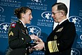Adm. Mike Mullen presents U.S. Army Sgt. Monica L. Brown with the 2008 Jewish Institute for National Security Affairs Grateful Nation Award 01.JPG