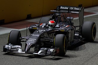 2014 Singapore Grand Prix - Adrian Sutil prompted the safety car's deployment after colliding with Sergio Pérez.