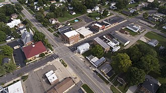 White Pigeon, Michigan - Aerial photo of White Pigeon facing South East