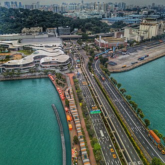 Sentosa - Aerial perspective of Sentosa's Bridge