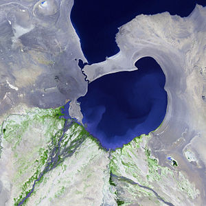 Airag Lake - Satellite image taken from Landsat-7.