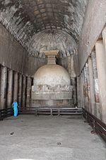 File:Ajanta, cave 10, chaitya-griha, with votive stupa (9842209134).jpg