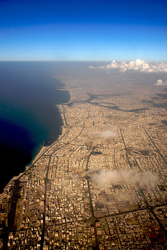 Emirate of Ajman - Ajman city (middle) and Sharjah city (below)