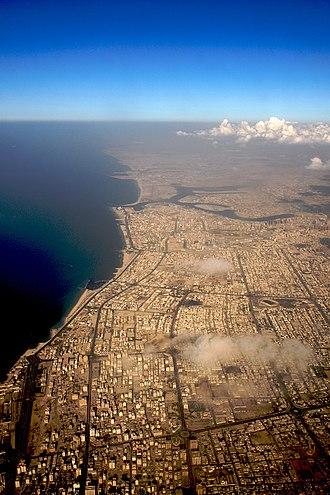 Emirate of Ajman - Ajman city (middle) and Sharjah city (below)