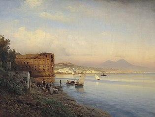 Vue de la baie de Naples avec le palais de la reine Jeanne