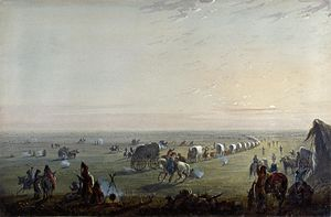 Oregon Trail - Breaking up Camp at Sunrise, by Alfred Jacob Miller