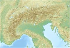 """Mapa konturowa Alp, po lewej znajduje się czarny trójkącik z opisem """"Arcalod"""""""