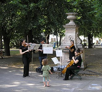 Classical music - String quartet performing for the Mozart Year 2006 in Vienna