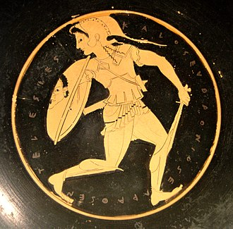 Amazons - A helmeted Amazon with her sword and a shield bearing the Gorgon head image, Tondo of an Attic red-figure kylix, 510–500 BC