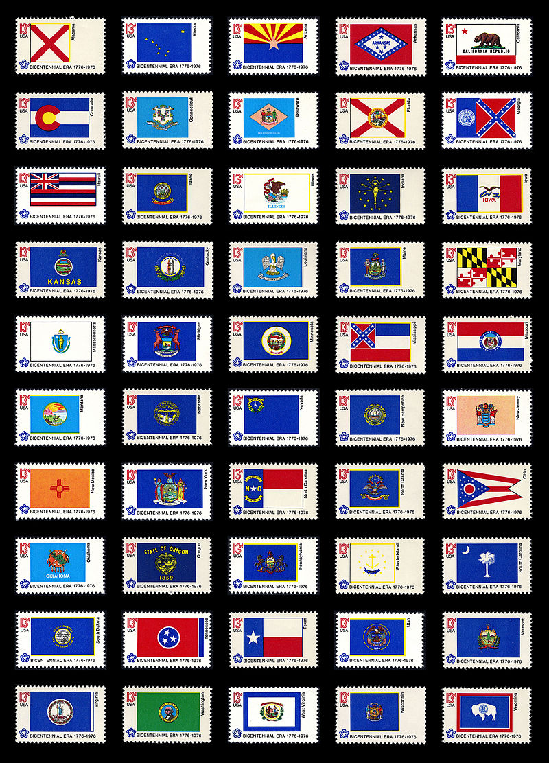 American Bicentennial Flag Series of 1976 U.S. stamps.jpg