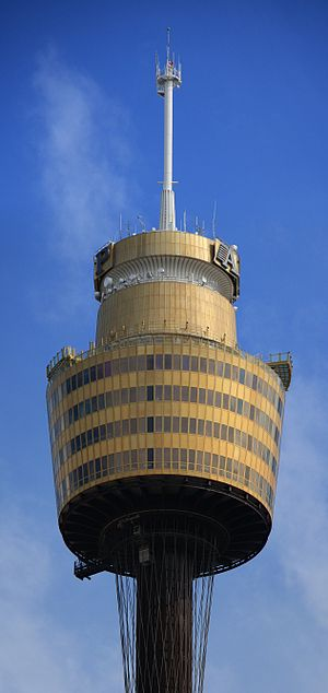 Sydney Tower - Closeup view of the top of the tower