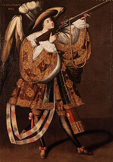 Ángel arcabucero Angel depicted with an firearm