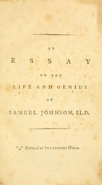 samuel johnson conversation essay For more than three years british author, poet, and lexicographer samuel johnson almost single-handedly wrote and edited a biweekly journal, the ramblerafter completing his master work, a dictionary of the english language, in 1755, he returned to journalism by contributing essays and reviews to the literary magazine and the idler, where the following essay first appeared.
