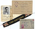 An ID', cap bevo and POW letter used by a former crew member of the SS Cap Ancona Ship.jpg