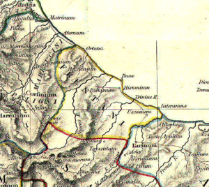 Frentani - The territory of the Frentani according to the Historical Atlas, just north to the Samnium.